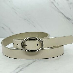 Fossil White Metallic Reversible Leather Belt Size Small S 30