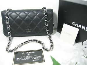 Authentic Chanel Black Quilted Lambskin Leather CC Logo Full Flap Clutch Bag