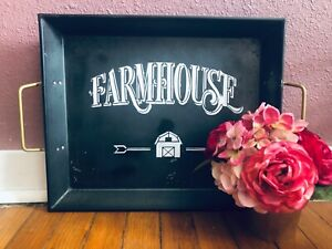 Handmade farmhouse tray sign metal
