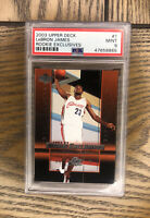 LEBRON JAMES RC 2003-04 UPPER DECK ROOKIE EXCLUSIVES PSA 9 #1 LAKERS HOT CAVS