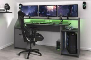 Computertisch Gaming Tisch Schreibtisch PC-Tisch LED Beleuchtung Set Up Grau