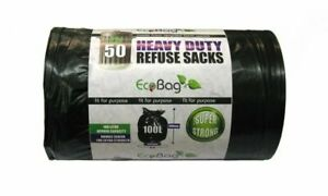 Bin Bags Heavy Duty Extra Strong Refuse Sacks 100L x 1472mm Pack Of 50
