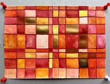 Opulent Gold & Red Sunset Abstract Signed Original Artist's Watercolour Acrylic