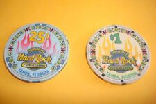 1st Gen Seminole Hard Rock Hotel Fl. $1 & $ .25 ct  Casino Chip  Ist style