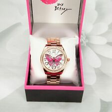 Betsey Johnson Multi-colored Butterfly Mosaic Motif Dial Rose Gold Watch
