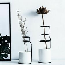 White Ceramic Flower Vase Minimalist Scandinavian Design Home Decor Table Vases