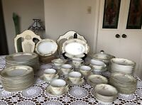 "SDS Japan -Hand Painted -10"" Dinnerware Set - Lacy Trim, Floral Sprays - 72 Pc."