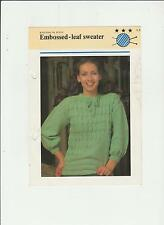 Vintage Knitting in style Pattern, Ladys Embossed Leaf Sweater, 32-38in, fol 28