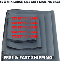 50 LARGE CHEAP GREY MAILING PARCEL PACKAGING BAGS 12X16|13X19|15X18|14X21|17X22