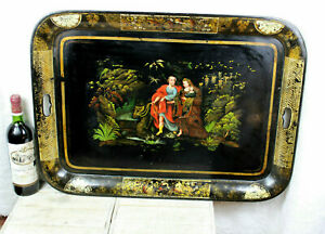 XL 19thc French Napoleon III tole serving tray hand paint religious family rare