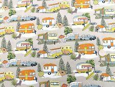 Retro holidays campervans & caravans fabric fq 50x56cm Nutex 88730-3 100% Cotton