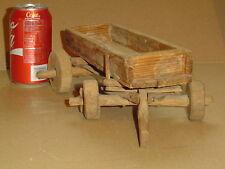 Hand Carved Wood Farm Wagon Handmade child's toy primitive crude craft Vintage