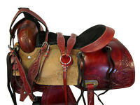 PRO WESTERN ROPING RANCH SADDLE 15 16 17 PLEASURE TRAIL HORSE TOOLED LEATHER SET