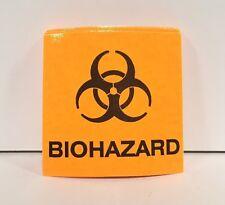 """50 Biohazard Stickers Label Decal Vinyl Neon Orange 2x2"""" Dental Medical Tattoo"""
