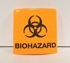 "Biohazard Stickers Label Decal Vinyl Neon Orange 2x2"" 50 Pcs Dental Med Tattoo"