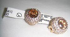 NWT St. John Yellow Gold-Tone Signed Swarovski Rhinestone Oval Clip On Earrings