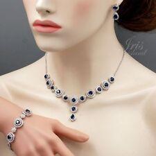 Wedding Sapphire Blue Cubic Zirconia Necklace Bracelet Earrings Jewelry Set 2556