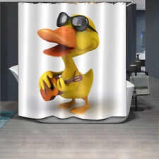 60x72'' Cute Singer Duck Shower Curtain Set Bathroom Fabric Waterproof 12Hooks