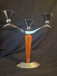 Mid Century Modern Atomic Candelabra Candle Holder Chrome Wood 3-Light - RARE
