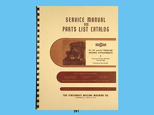 "Cincinnati 16"" 20"" 24"" Circular Mill Attachment Service & Parts List Manual *391"