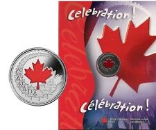 2004 Canada Celebration - Maple Leaf Colorized 25 Cents Proof-Like BU
