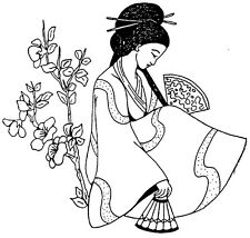 Unmounted Rubber Stamps, Asian Stamps, Kneeling Geisha, Asian Ladies, Art Stamps