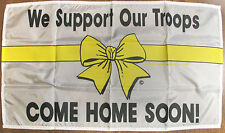 """""""WE SUPPORT OUR TROOPS"""" """"COME HOME SOON"""" Yellow Ribbon Banner Nylon NEW"""