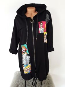 MADE IN ITALY POP ART Long Hoodie Oversized Sweatjacke Kleid Patches 36 38 40 42