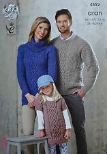 KNITTING PATTERN Ladies/Mens/Girls Cable&Basket Stitch Jumpers & Tunic Aran 4552