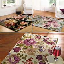 SMALL - EXTRA LARGE FLORAL THICK LUXURY VINTAGE ELEGANT CHIC 80% WOOL,SOFT RUGS