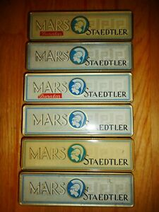 Lot of 6 Vintage Mars Staedtler Pencil Tins ~ Advertising