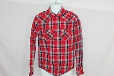 Mens Aeropostale Red Plaid Pearl Button Up Casual Dress Shirt - Size S