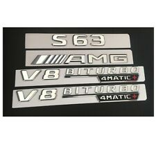 Chrome S63 AMG V8 BITURBO 4MATIC+ Trunk Fender Badges Emblems for Mercedes Benz