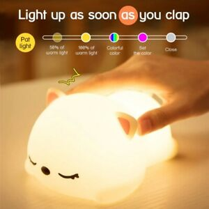 Bedroom Sleeping Night Light Cat Silicone Lamp With Remote For Kids Baby Gift