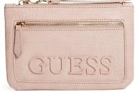 NWT GUESS PAZ WRISTLET BAG Pink Logo Clutch Pouch Handbag Wallet GENUINE