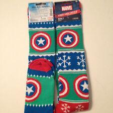 Officially Licensed Marvel Captain America Christmas Holiday Knee High Socks NEW