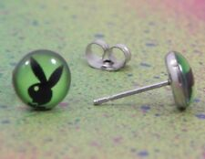 Playboy Bunny Logo Green and Black Stainless Steel Stud Earrings Jewelry 8mm
