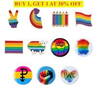1pc Rainbow Pride Pin Badge LGBTQ Enamel Lapel Metal Friendship Jewellery Brooch