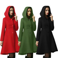 Womens Fashion Hooded Cape Pullover Elegant Waist Pocket Winter Warm Coat