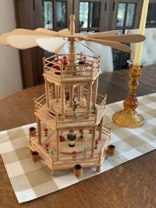 """Vtg Christmas Pyramid 3-tier Wooden Nativity Scene Carousel Windmill Candle 15"""""""