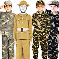 Army Soldier Boys Fancy Dress Military Commando Uniform Kids Childrens Costume
