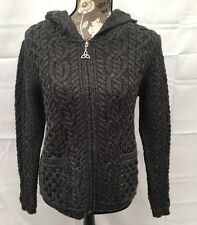 Aran Mor 100% Irish Wool Shirt Tail Hood Zip Cardigan Sweater Inis NWT Small