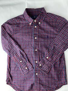Polo Ralph Lauren L/S Red And Blue  Button Up Shirt Youth Boy's 6