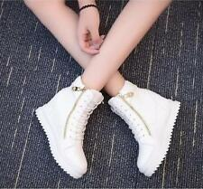 Womens High Top Zip Wedge Shoes White Casual Clubwear Hidden Heels Hot Korean