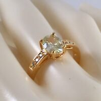 Vintage Jewellery Gold Ring with Peridot and White Sapphires Antique Jewelry P