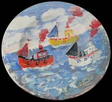 Simeon Stafford Original Painting On A Plate - Fishing Boats (Cornish Art)