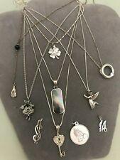 Sterling Silver Pendants (10) + 7 Necklaces Cuckoo Clock Angel 4 Leaf Clover etc