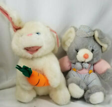 2 PLUSH Stuffed Animals 8 in BUNNY w Carrot  &   MOUSE in Train Conducter Outfit