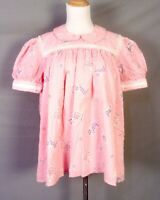 vtg Hand Smocked Pink Baby Dress Style Women's Top Shirt Blouse sz 46 bust