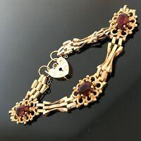 Stunning 9ct Gold Vintage Victorian Style Garnet Set 3 Bar Gate Bracelet #122